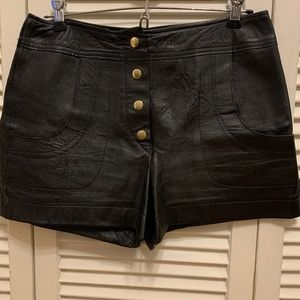Vintage High-Waisted Pleather Shorts